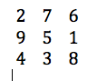 Magic square where sum of each side is 15