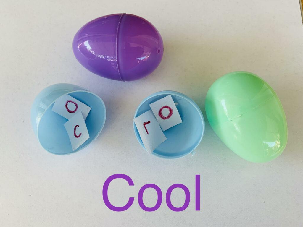 practice spelling words using plastic easter eggs