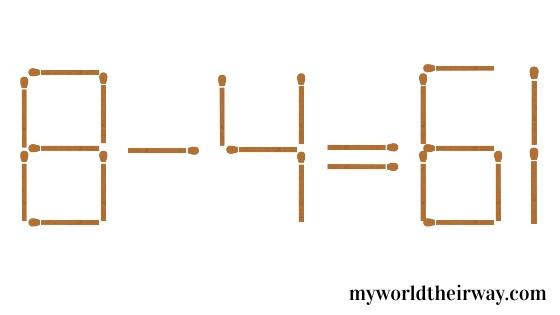 81-4 = 61 matchstick puzzle