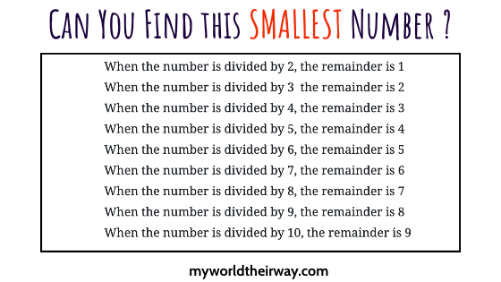 LCM – Interesting Smallest Number  Puzzle