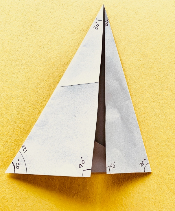 third and final fold for paper protractor